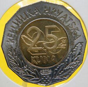 1997-Croatia-25-kuna-U-N-Membership-Bi-metallic
