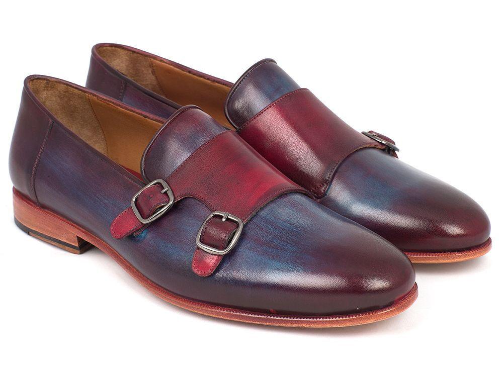 Paul Parkman Homme Bordeaux & Bleu Marine Double Monkstrap Chaussures (ID HR65CX)