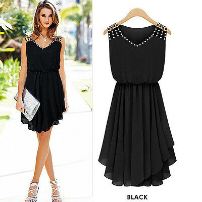 Women Ladies Evening Cocktail Party Bodycon Dress Summer Casual Chiffon Sundress