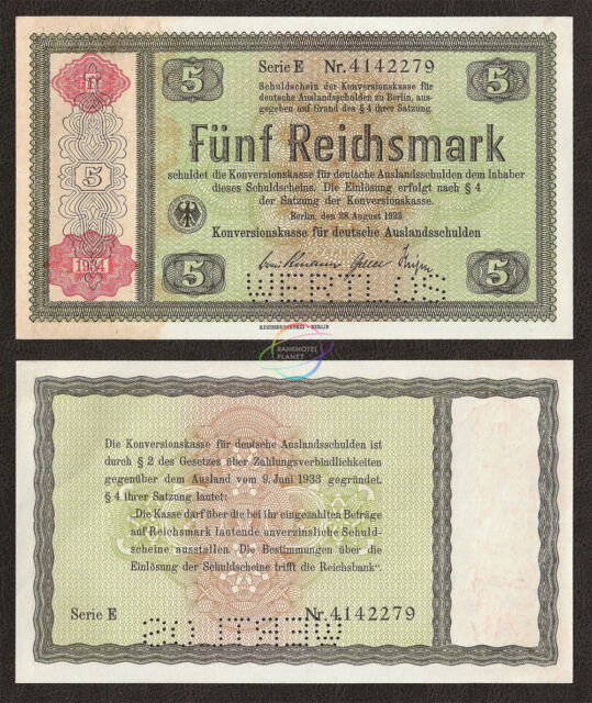 GERMANY 5 Reichsmark, 1934, P-207, WERTLOS Perforated, AUNC