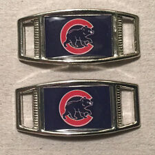 PAIR OF MLB CHICAGO CUBS RECTANGLE SHOELACE PARACORD BRACELET CHARMS