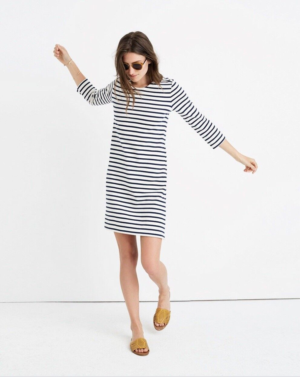 Madewell striped knit dress , LARGE, indigo, NWT, sold out