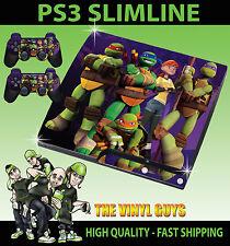 PLAYSTATION PS3 SLIM NICK TOON MUTANT TORTUGAS NINJA PEGATINA CARCASA & 2 PAD