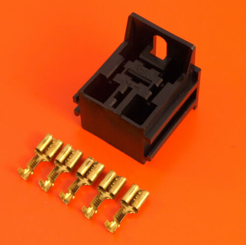 5 Terminals Suitable for 4//5 Pin Relays Black Relay Base Holder and Mount