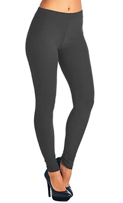 ONE SIZE Women/'s CHARCOAL Solid Dark Gray Buttery Soft Classic Leggings OS 2-12