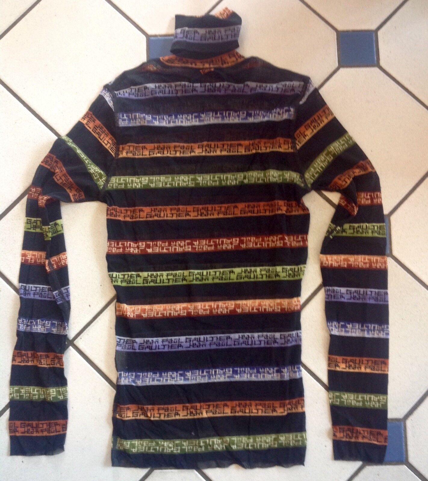 Jean Paul Gaultier SHIRT MESH NERO LABEL LABEL LABEL A Strisce Collo Alto Taglia XL come nuovo efb243