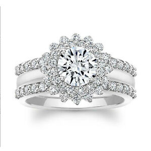 1.92 Ct Round Moissanite Engagement Superb Band Set Solid 18K White Gold Size 7