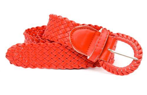 Flechtgürtel Gürtel für Damen Flecht OneSize Fashion Kunstleder Rot Trendy Neu