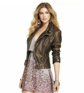 Free People Faux Leather Bronze Gold Moto Jacket Woman's Size 10 Anthropologie