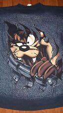 90's Vintage TASMANIAN DEVIL Warner Bros cartoon DENIM JACKET Shirt Large TAZ
