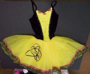 NWOT-Ballet-Dance-Costume-Long-tutu-laceup-front-Black-lace-Lemon-Petite-Adult