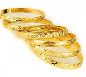 6-Piece-Set-18k-Yellow-Gold-Bracelets-Bangles-Women-039-s-Elegant-Italian-Cut-D415D