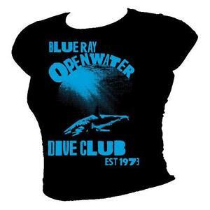 Azul-Rayos-Abierto-Agua-Buceo-Club-Mako-Tiburon-Mujer-100-Camiseta-Algodon