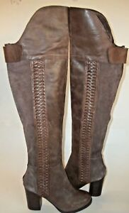 Details about Dolce Vita DV Myer Anthro 6.5 Brown Leather Suede Braid OTK Heel Boot $300 1586