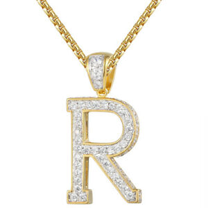 14k gold finish letter r pendant custom design iced out simulated image is loading 14k gold finish letter r pendant custom design aloadofball Choice Image