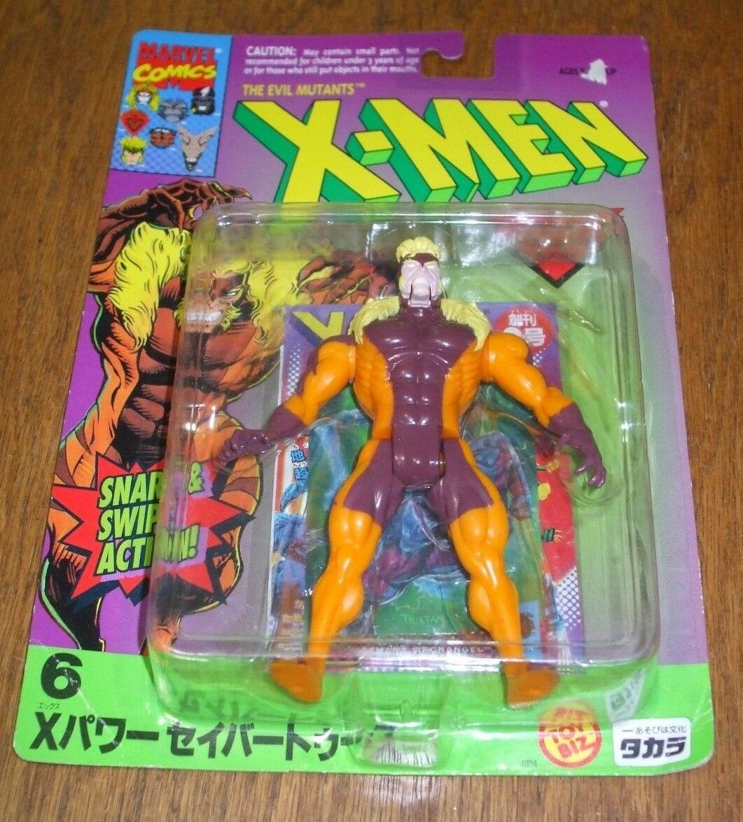 RARE X-Uomo SABRETOOTH Toy Biz JAPAN Release MOSC 1994 Mutant Action Figure WOW