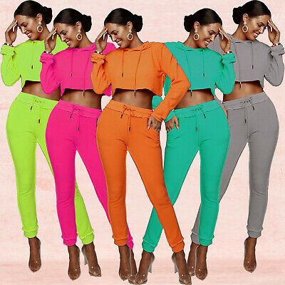 Fall Women Long Sleeves Hoodie Crop Tops Long Bodycon Sports Set Tracksuits 2pcs Superior Performance