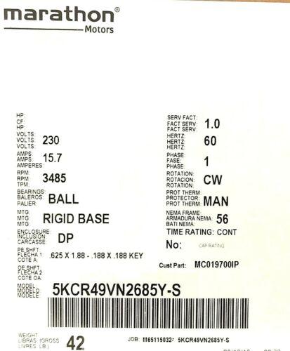 5KCR49VN2685Y CAMPBELL HAUSFELD REPLACEMENT MOTOR 230V 56FR 5KCR49VN2685Y S