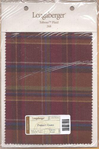 Longaberger #268 TOBOSO PLAID Sample Fabric Card