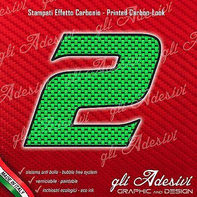 Adesivo Stickers Numero 2 Moto Auto Cross Gara Carbon Effect Green 5 Cm