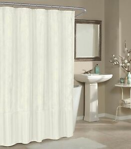 Image Is Loading Off White Faux Silk Fabric Shower Curtain Metallic
