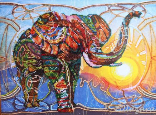 Mosaic Elefant Stickpackung Stickbild Stickset LeinwandPerlen Bead embroidery261