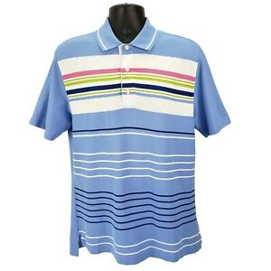 Brooks-Brothers-Men-s-St-Andrews-Links-Polo-Golf-Shirt-Medium-M-Blue-Striped-EUC