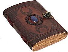 Handmade Leather Journal Notebook 3 Moon Stone Embossed Lock Diary Writing Book