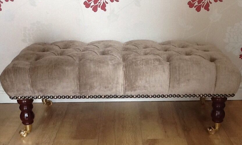 A Quality Long Deep Buttoned Footstool In Laura Ashley Villandry Truffle Fabric