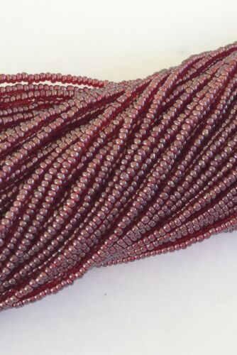 15//0 Two Hanks Czech Transparent Red Luster Glass Seed Beads #142