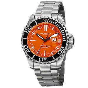 Men-039-s-Akribos-XXIV-AK735OR-Limited-Edition-Orange-Dial-Diver-Date-Bracelet-Watch