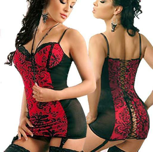 Lingerie Bustier Chemise With Garters Thong BabyDoll- PLUS 6XL 7XL