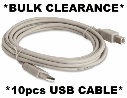 10 x USB 2m AB Cables High Speed for PrinterScannerCartonBulk Lot Resale
