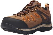 2d5edbfab933 Skechers for Work Men s Dunmor Comp Toe Work Shoe Brown Suede Orange Trim
