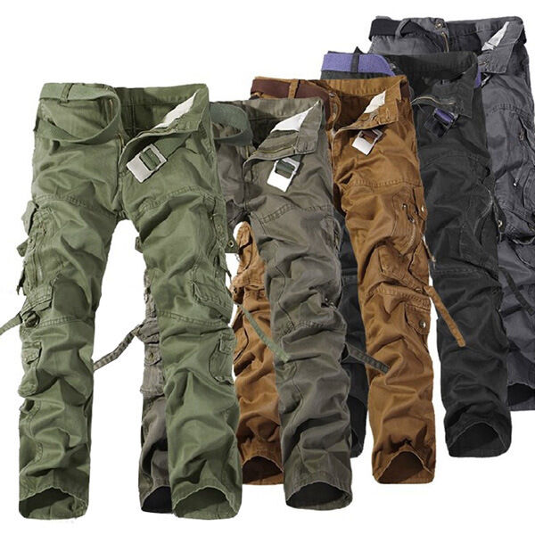 Fashion New Man's Trousers Casual Military Army Cargo Camo Combat  Pants No Belt