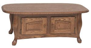 #1035 Solid Oak Queen Anne Storage Coffee Table