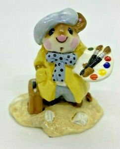 RETIRED-Wee-Forest-Folk-1982-M-71-034-Arty-Mouse-034-Yellow-Signed-034-AP-034