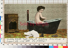 Young girl bathing by the fire vintage postcard Surry postmark 1905
