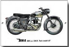 BSA 500CC O.H.V. TWIN MODEL A7 METAL SIGN.VINTAGE BRITISH MOTORCYCLES.