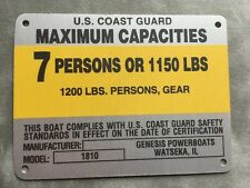 United Marine Boat Capacity Plate~Tag 7 Person or 1150 Lbs~Genesis Boats 1810