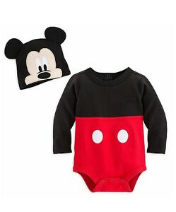 Disney-Store-Baby-Boy-Mickey-Mouse-Costume-Outfit-amp-Hat-Bodysuit-New-Free-Shipp
