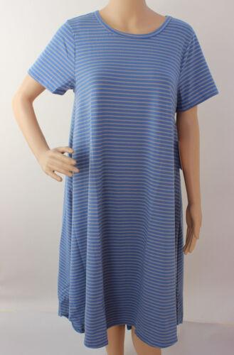 Medium LuLaRoe Carly Dress Beautiful Blue Gray Stripes NWT 241 M
