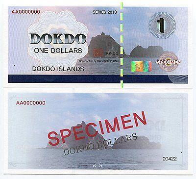 DOKDO KOREA 1 DOKDO DOLLAR 2012 SPECIMEN WORLD PEACE THROUGH DOKDO UNC