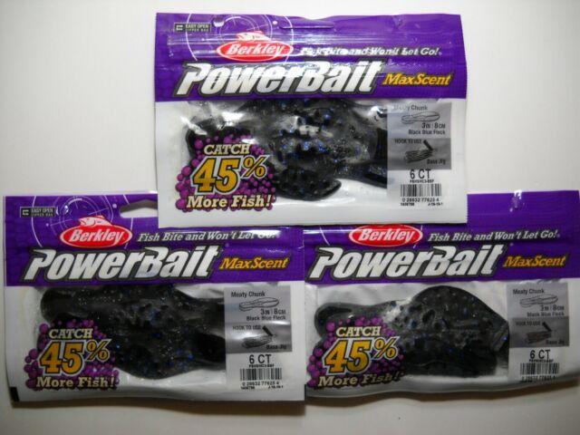 6CT BLUE BLACK FLECK 2PK/'S BERKLEY POWERBAIT MEATY CHUNK #1436798 3IN
