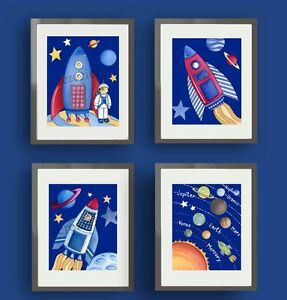 Rocketship Outer Space Allien Planets Nursery Baby Boy