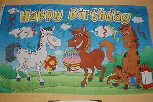 Happy Birthday Pferde Geburtstag Flagge Fahne 90 x 150 cm