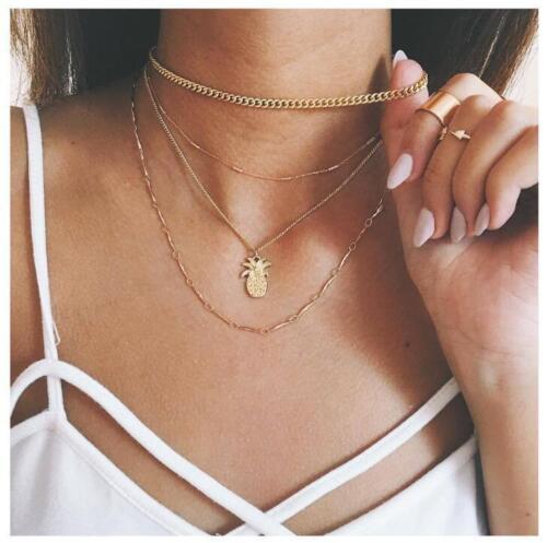 Multi Couches Femme Fashion Boho simple chaîne dorée Ananas Pendentif Choker neckl