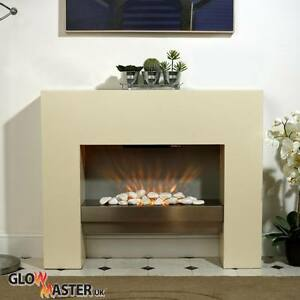 Image Is Loading Electric Fire Fireplace Free Standing Creme Heater Inset