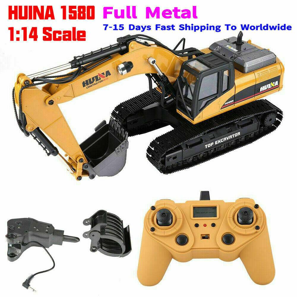 HUINA 1580 1 14 3 in 1  Full Metal Excavator Drill  Grapple RC Engineering auto  s  buona reputazione