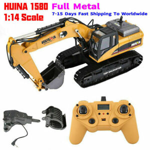 HUINA-1580-1-14-3-in-1-Full-Metal-Excavator-Drill-Grapple-RC-Engineering-Car-s